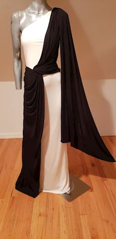 David Meister Grecian Gown one shoulder/wing
