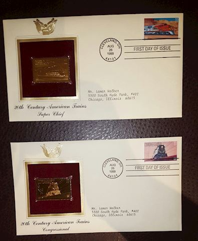 Set of 2 - 22K Gold Train First Day Covers
