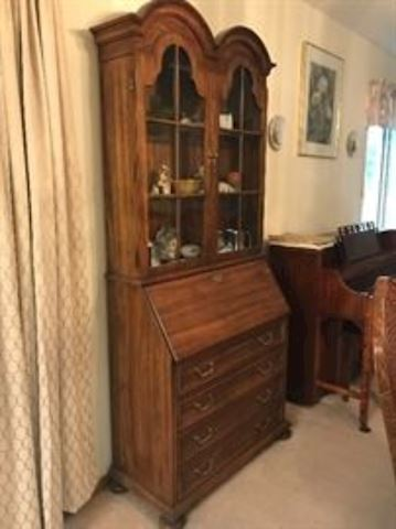 Secretary wood display cabinet