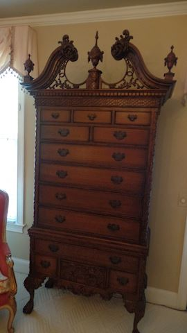 "20th C. Carved English Highboy ""Chippendale Style"""