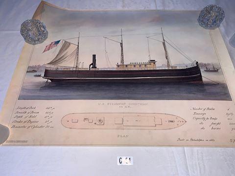Lot 00101 U.S. SteamShip  Corinthian  PLAN Print