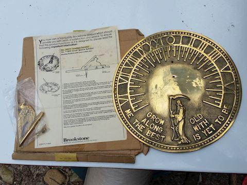 solid brass sundial NOS unused Brookstone vintage