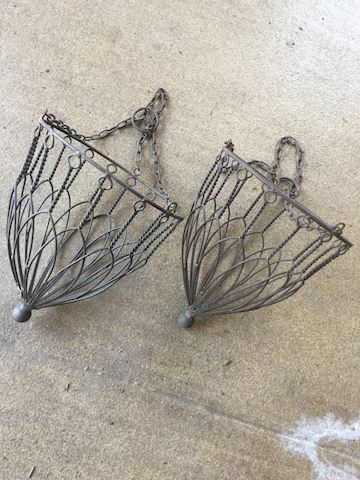 2 Decorative Metal Hanging Plant Baskets