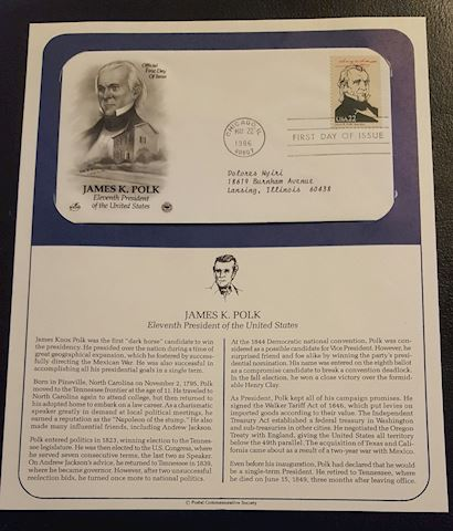 James Polk 1986 First Day Cover