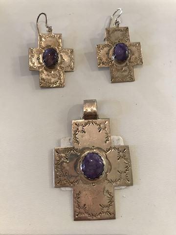 Sterling silver cross pendant earrings charoite