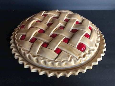 Covered Red Cherry Pie Dish
