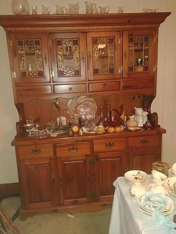 China cupboard with stain glass Top