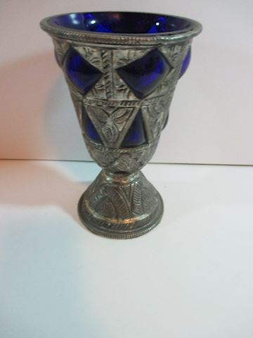 Silver and blue Bubbled Vintage Vase