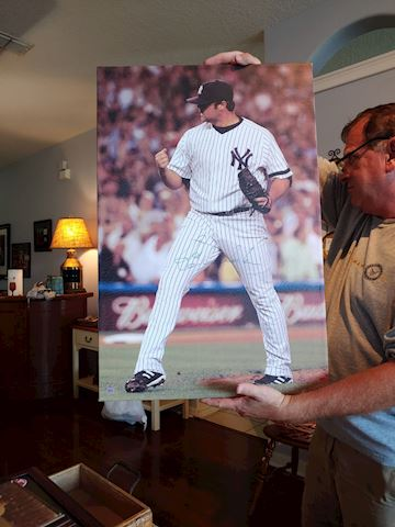 New York Yankee's Roger Clemens-autographed canvas