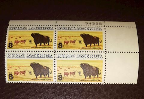1973 Rural America Plate Block of 4 -8¢ Stamps