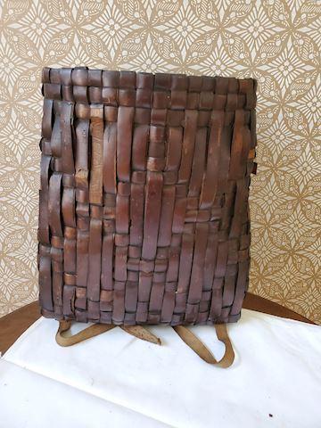 Asian Handmade dark brown woven basket backpack