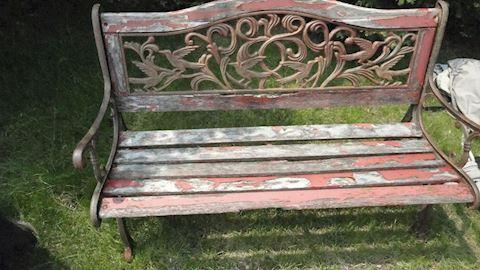 Cast Iron & Wood garden bench Lot #33