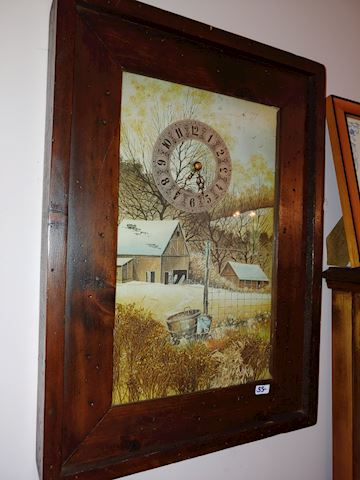 Wooden Country Shadow Box Picture Clock