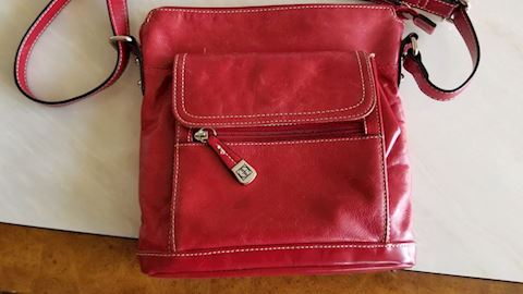 Giani Bernini red leather handbag