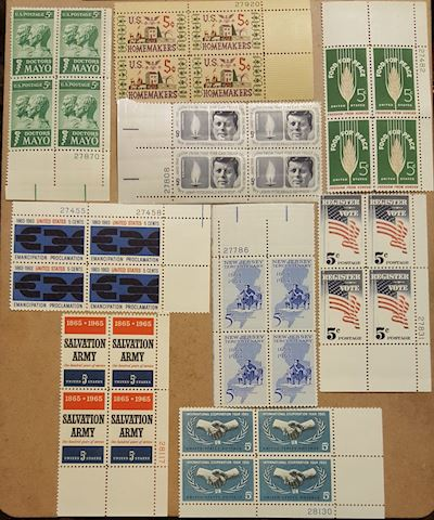 Collection of 9 Plate Blocks of 5 cent stamps