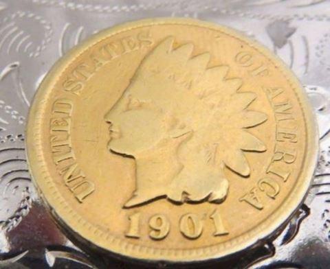 USA 1901 Indian Head Cent Coin Buckle