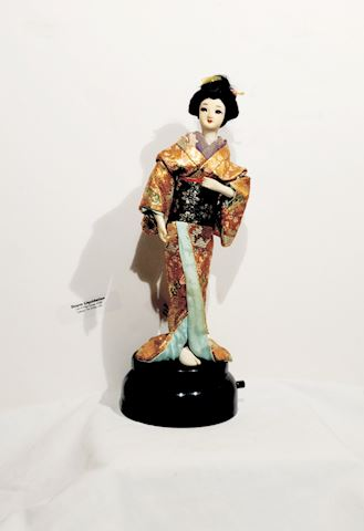 Asian Art Japanese Woman Figurine Music Box