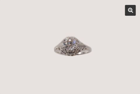 Diamond Ring .87 carat 18K White GOLD VINTAGE