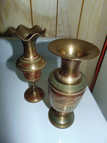 Two Indian Brass Vases