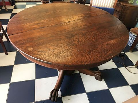 Antique Tiger Clawfoot Oak Dining Table
