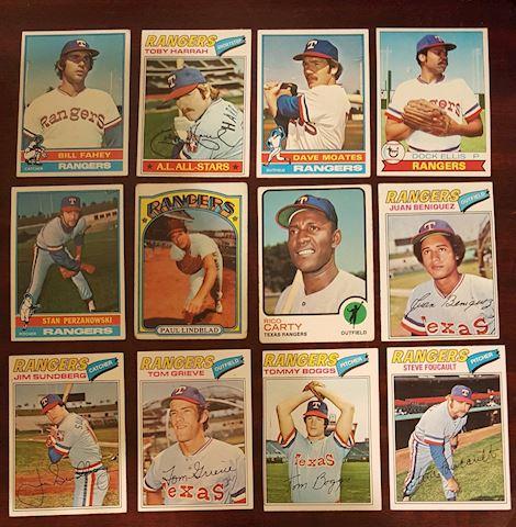 12 Vintage TTexas Rangers Baseball Cards