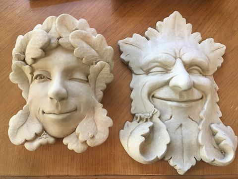 Lot of 2 Cement Decorative Face Wall Hangings
