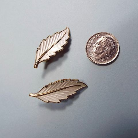 Vintage Sterling and Enamel Leaf Earrings, Denmark