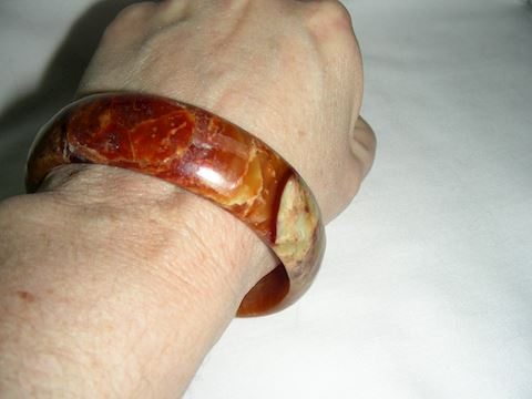 Brown Nephrite Jade Bangle Bracelet
