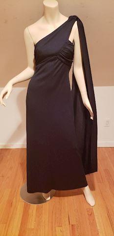 One shoulder 1970 empire Grecian maxi dress W/wing