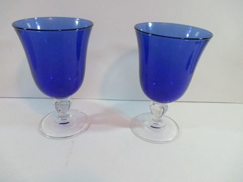 Vintage Cobalt Blue Lot of 2 Large Goblets