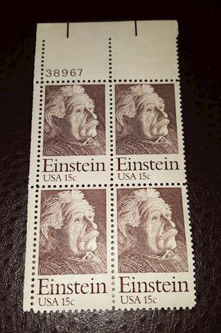 Vintage Plate block of 4-8¢ Albert Einstein Stamps