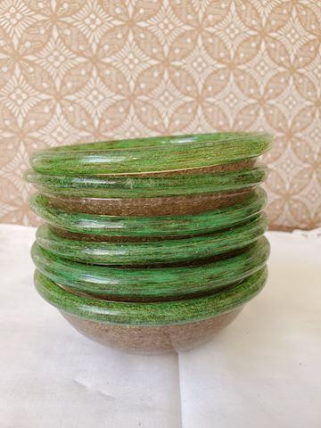 6 hand blown brown with green rim dessert