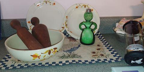 Depression Green Salt Shaker Jewel Tea Dishes & M