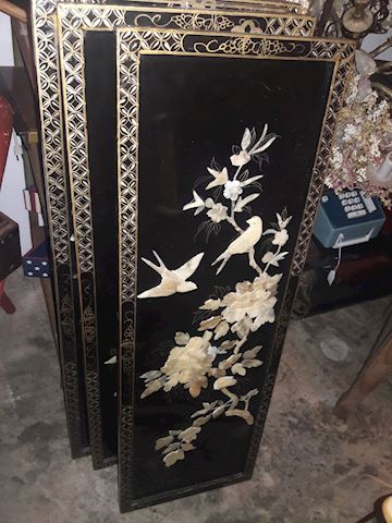 4 Asian Mother of Pearl Panels