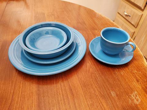 Blue Fiesta ware 6 piece place setting
