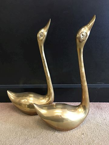 "18"" Tall Vintage Brass Canada Geese Set of 2"