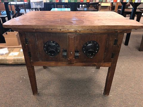 ANTIQUE ASIAN WOODEN TABLE CABINET SIDE TABLE