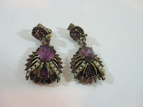 "1953 Holly Craft  Rhinestone Dangle Earrings 2"""