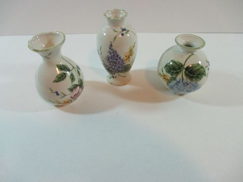 Set of 3 Princess House Vintage Gardens Mini Vases