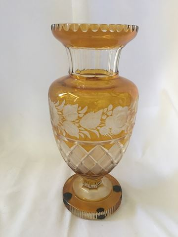 Yellow Cut to Clear Bohemian Glass Vase.