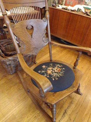 Antique Wood Rocker Tapestry Seat