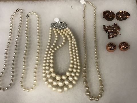 Misc lot pearls copper jewelry