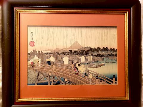 Hiroshige woodblock Shower on Nihonbashi Bridge