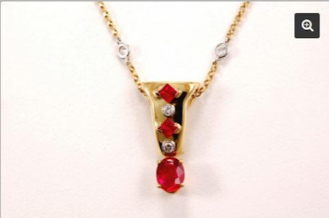 18K GOLD Ruby Pendant 1.28 carat (center stone)