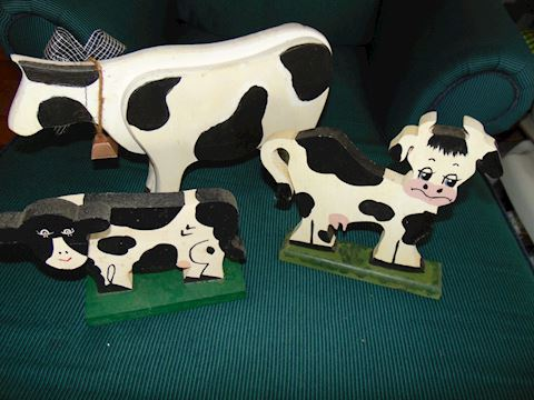 Three Wooden Cows