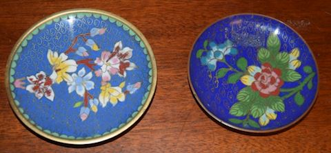 2 Vintage Asian Cloisonne  Trays