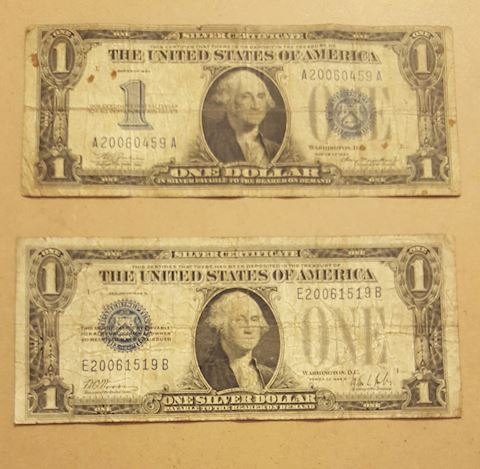 2 Old Funny back Silver Certificates 1928 & 1934