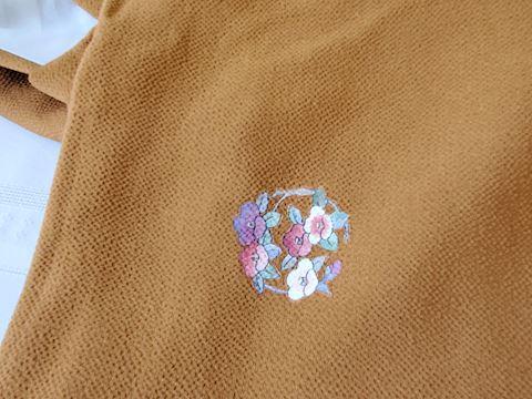 Brown small floral design with striped KImono