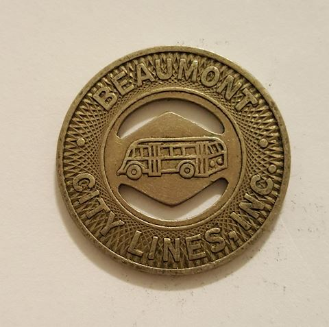 Old Beaumont Texas City Bus Token