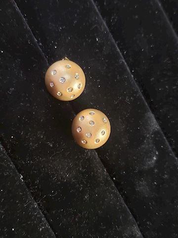Pierced 18k Solid Gold Earrings w/ GenuineDiamonds
